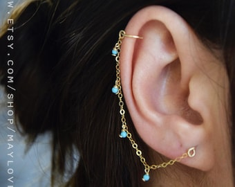 Gold Filled Hanging Chain Earring, silver chain earring, Cartilage Chain Earring, turquoise necklace, turquoise earring, gift for her