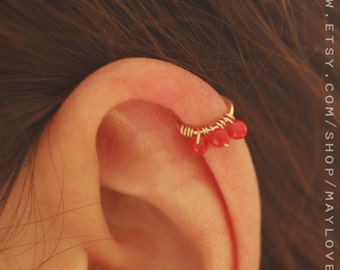 cartilage earring cartilage piercing helix earring helix piercing helix earring, helix piercing, red coral hoop