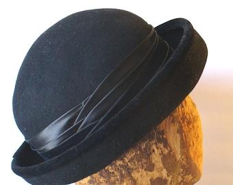 Cappello di lana nero vintage Made in Italy e52b8452fcfe