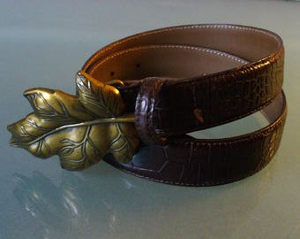 Talbots Alligator Embossed Leather Belt Made in Italy Size M