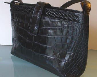 Talbots Made in Italy Alligator  Embossed Leather Shoulder Bag