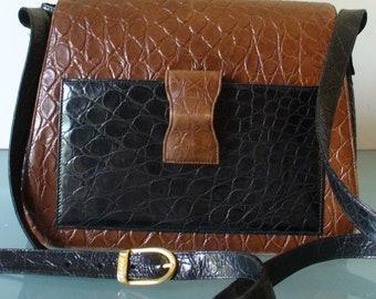 Rodo Made in Italy Alligator  Embossed Leather Shoulder Bag