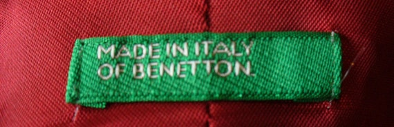 Vintage Benetton Made in Italy Tomato Red Overcoa… - image 2