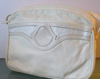 Made in Italy Charles Klein White Leather Shoulder Bag