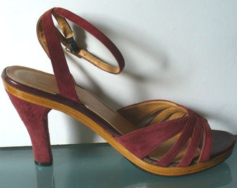 Vintage Made in Italy Socialites Suede Ankle Strap Shoes Size 5 US
