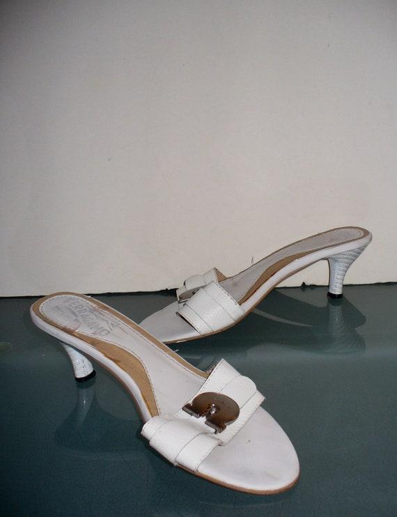 Ferragamo Kitten Heel Slides Made in Italy Size 37 - image 2