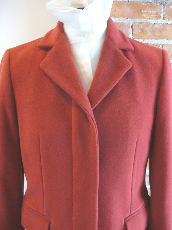 Vintage Benetton Made in Italy Tomato Red Overcoa… - image 4