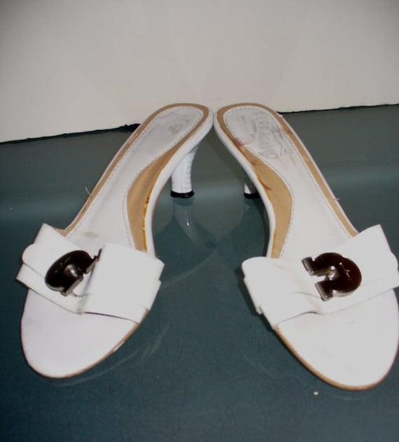 Ferragamo Kitten Heel Slides Made in Italy Size 37 - image 8