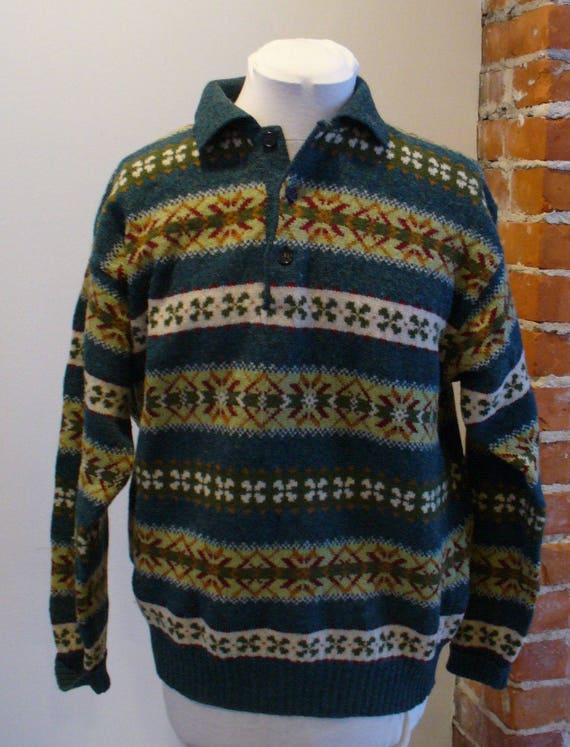Benetton Made in Italy Fair Isle Sweater Size M