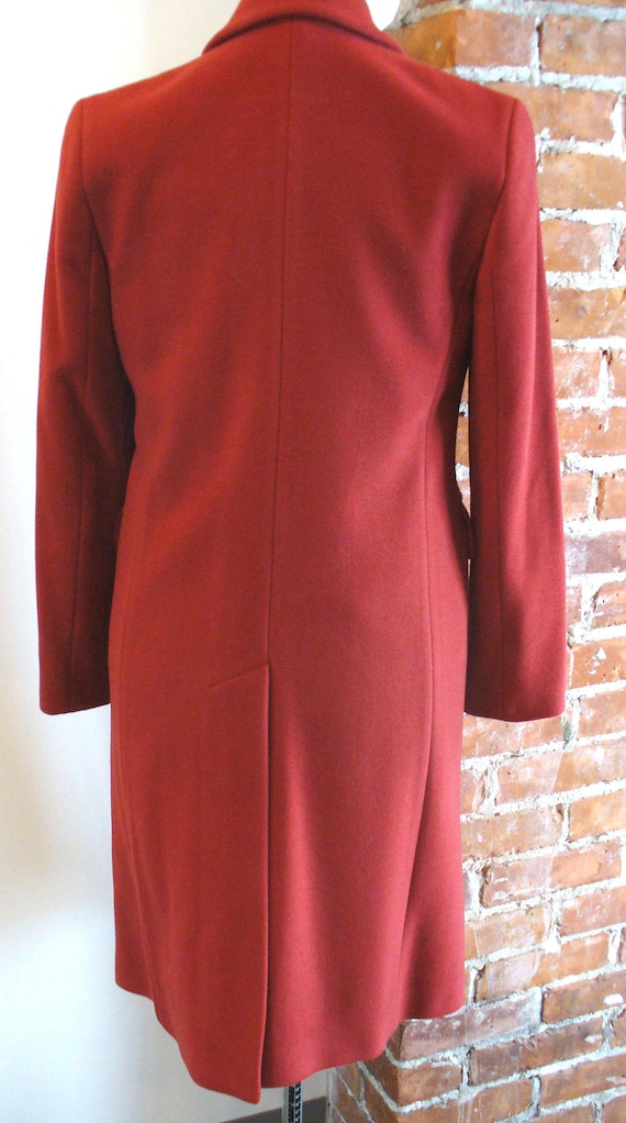 Vintage Benetton Made in Italy Tomato Red Overcoa… - image 5