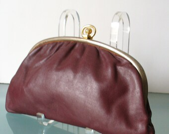 Vintage Made in Italy Small Oxblood Clutch Bag