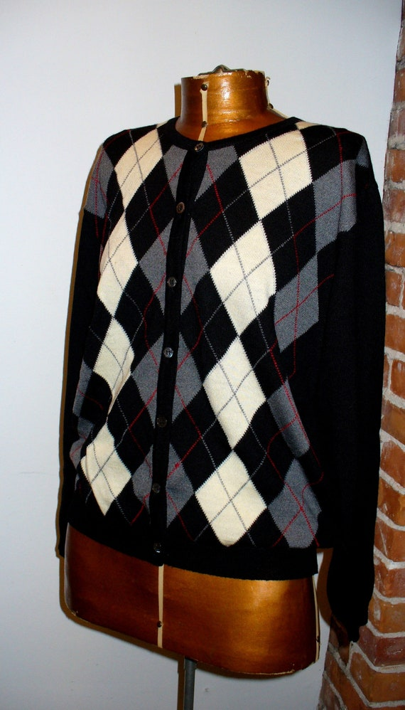 Made in Italy Talbots Argyle Cardigan Sweater Size