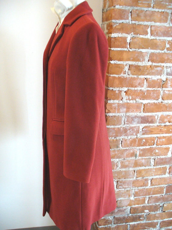 Vintage Benetton Made in Italy Tomato Red Overcoa… - image 3
