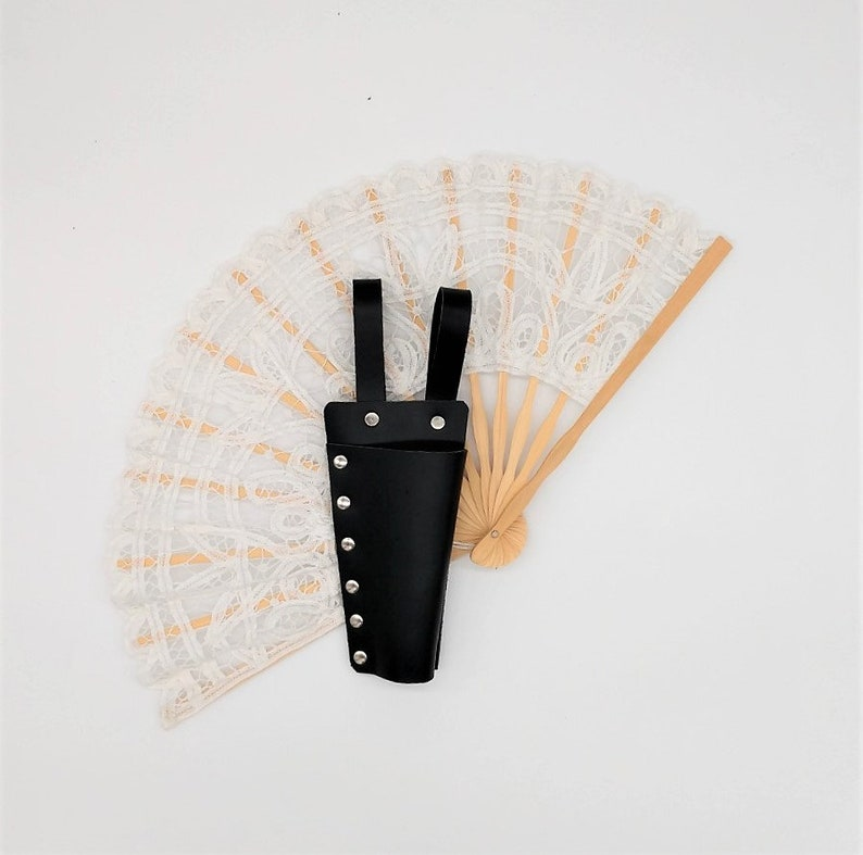 Black Leather Lace Fan Holster