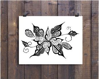 Articles Similaires à Noir Et Blanc Art Plume Et Encre Fleur