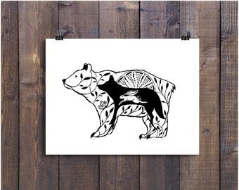 Bär Kunst Bär Wolf Kaninchen Kunstdruck Tier Zeichnen Etsy