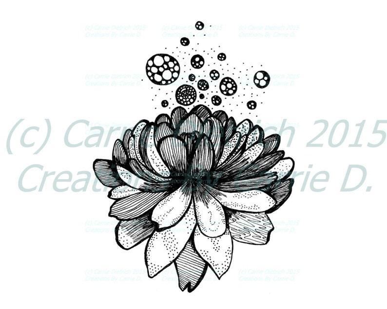 Black And White Art Pen And Ink Lotus Flower Design Etsy