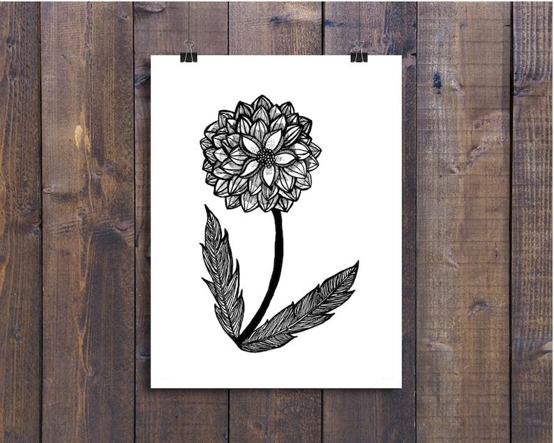 fd72d8bec3bf Pluma de arte blanco y negro y tinta Dahlia flor diseño