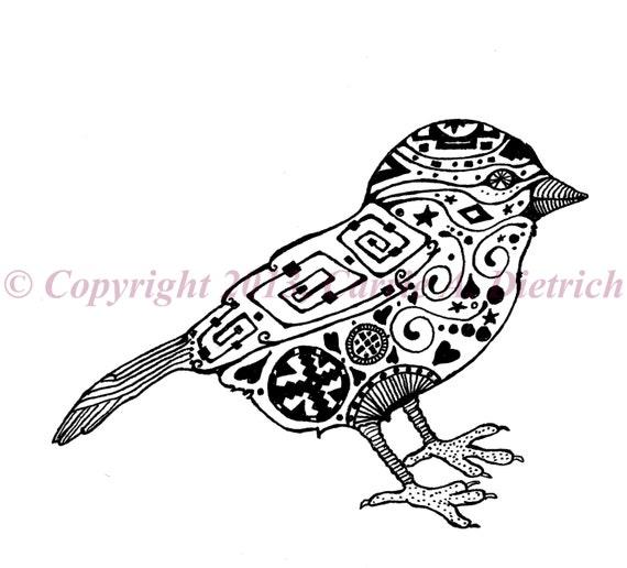 Art Art Noir Et Blanc Plume Et Encre Oiseau Dessin Doiseau Oiseau Illustration Signé 4 X 6 Imprimé Oiseau Home Decor Design Dessin