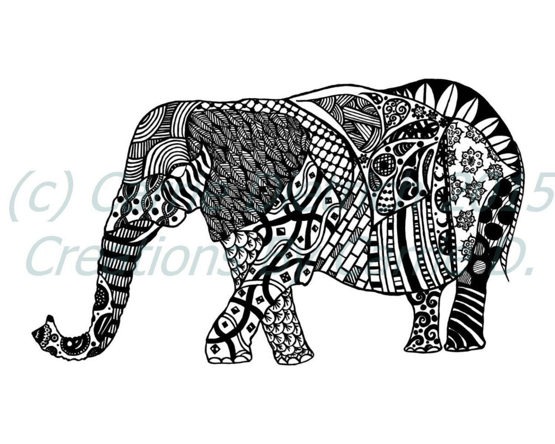 feder und tinte kunst schwarz wei kunst tiere elefant etsy. Black Bedroom Furniture Sets. Home Design Ideas