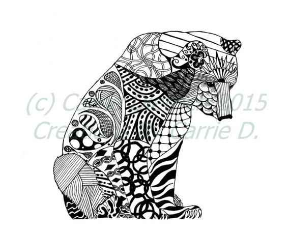 Pen and ink art black and white art animals polar bear art