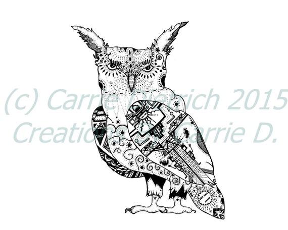 Owl Art Owl Drawing Owl Illustration Pen And Ink Drawing Black And White Art Ink Drawing Owl Art Fun Art Ink Art Nursery Art