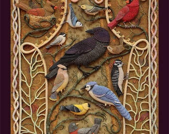 Birds of Beebe Woods - 18 x 24 Poster reproduction of fabric relief embroidery