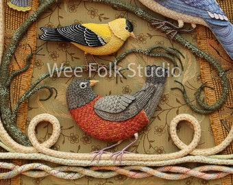 4 Cards - Birds of Beebe Woods - Robin and Goldfinch