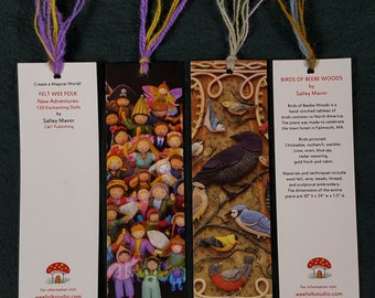 4 Bookmarks - mixed set of Birds and Wee Folk