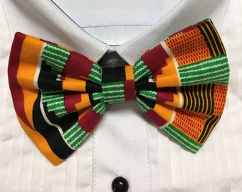 African Kente Geometric Green and Orange Print Bowtie / Bow Tie