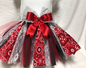 Country Princess Red and Black Bandana Paisley Tutu
