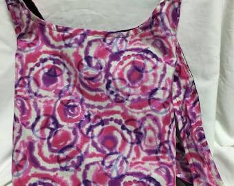 Pink and Purple Tie-Dye hobo CrossBody Bag / purse