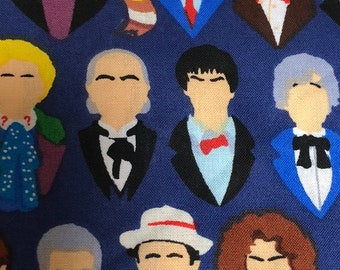 Fabric by the Yard - Doctor Who Doctors silhouettes