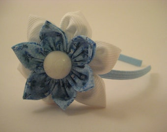 Blue and White Flower Hairband