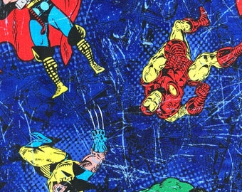 Fabric by the Yard - Avengers Scattered on Blue