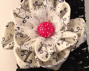 Black, white and red waffle Hairband