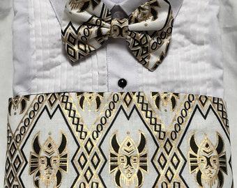 Bold African Kente White Black and Gold Print Cummerbund for a wedding or formal event