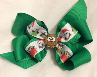 Christmas Owl Hair Bow