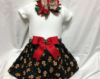 Kid's Gingerbread Kid on black Knee Length Skirt