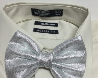 Sparkly Shiny Chrome Silver Bowtie / Bow Tie