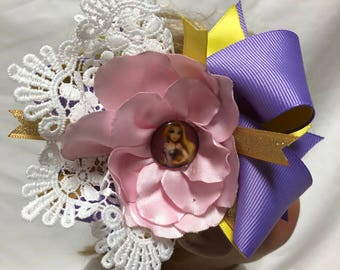 Long Hair Don't Care purple pink and yellow flower with Lace detail Hairband for baby