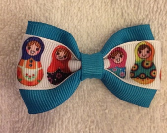 Mini Matryoshka Nesting Doll Hair Bow - 2 inches