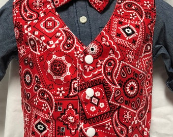 Red Paisley Vest and tie or bow tie set