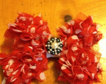 Jumbo Frayed Red Polka Dot Hair Bow