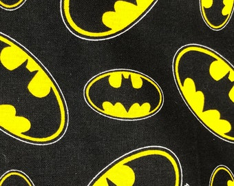 Fabric by the Yard - DC Batman Scattered Logos on Black
