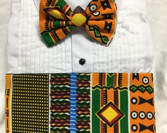 African Print Orange and Maroon Kente Kids Cummerbund for a wedding or formal event