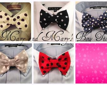 Black Red White Blue or Gray Polka Dot Bow Tie / Bowtie  Vintage
