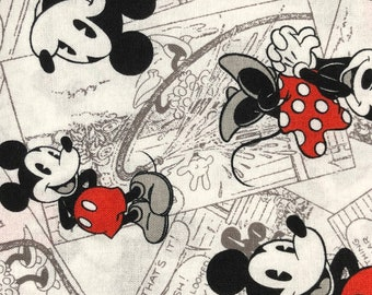Fabric by the Yard - Disney Mickey and Minnie Mouse Black and White Sketch
