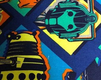 Fabric by the Yard - Doctor Who Villain Pop Art Dalek Cybermen