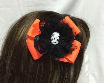 Spooky Halloween skeleton Cameo Hair Bow
